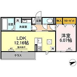 (仮)D-room北岡崎 1階1LDKの間取り