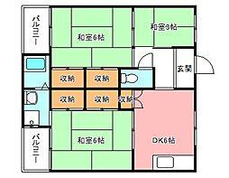 ヴィレッジハウス加賀田[1階]の間取り