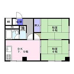 ロイヤルハイツ富士[6階]の間取り