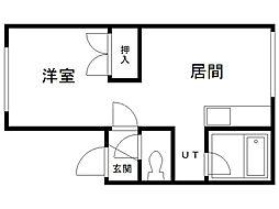 アパートメント脇坂 1階1LDKの間取り