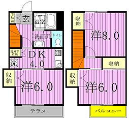 [テラスハウス] 千葉県松戸市六高台6丁目 の賃貸【千葉県 / 松戸市】の間取り