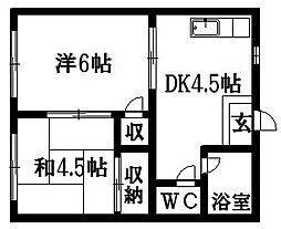 タウニー平岡[2階]の間取り