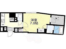 東武亀戸線 亀戸水神駅 徒歩9分の賃貸マンション 6階1Kの間取り
