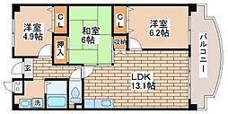 兵庫県神戸市長田区野田町7丁目の賃貸マンションの間取り