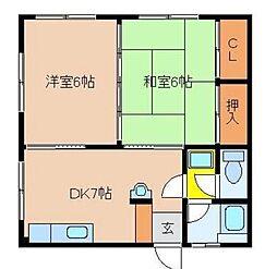 宮崎県宮崎市京塚2丁目の賃貸アパートの間取り