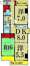 スカイハイツYOSHIMI[7階]の間取り