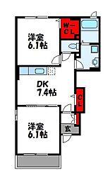 アルトプエンテC[1階]の間取り