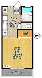 ハイツヤマアキ[202号室]の間取り