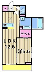 東京都足立区本木1丁目の賃貸アパートの間取り
