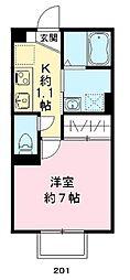 JR阪和線 北信太駅 徒歩3分の賃貸アパート 2階1Kの間取り