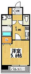 大阪府東大阪市高井田西6丁目の賃貸マンションの間取り