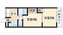 愛知県名古屋市昭和区川名山町1丁目の賃貸アパートの間取り