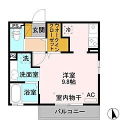 J-Room妃 参番館 東之門 1階ワンルームの間取り