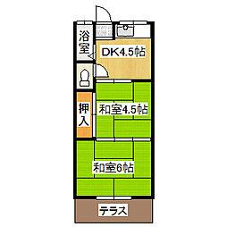 兵庫県宝塚市売布1丁目の賃貸アパートの間取り