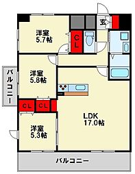 MDIプロスコルディア黒崎駅前[12階]の間取り