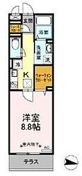 ハーウェル湘南台 1階1Kの間取り