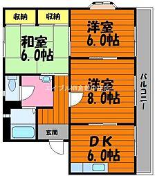 岡山県倉敷市西阿知町新田の賃貸マンションの間取り