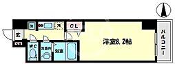 スプランディッド難波WEST 12階1Kの間取り