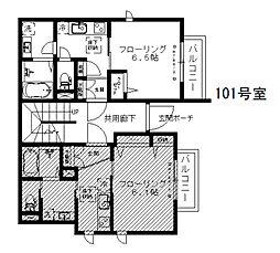 シャーメゾン渋谷イースト 2階1Kの間取り