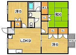 ラガーハイツ2[A102号室]の間取り