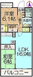 東京都日野市大坂上4丁目の賃貸マンションの間取り