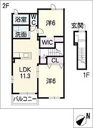 ジャンプレッソ B[2階]の間取り