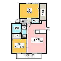 セジュールWIT平井[1階]の間取り