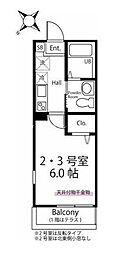 ハーミットクラブハウス西谷II(仮) 2階1Kの間取り