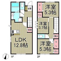 [テラスハウス] 神奈川県鎌倉市高野 の賃貸【/】の間取り