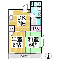 サニーハイツ稲田[2階]の間取り