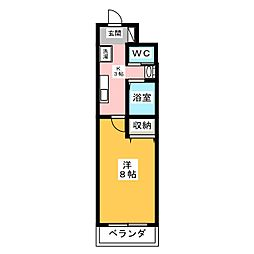 A-city港本宮 3階1Kの間取り