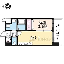 JR東海道・山陽本線 岸辺駅 徒歩4分の賃貸マンション 7階1DKの間取り