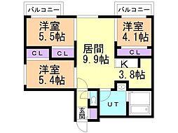 フォレスタ円山 4階3LDKの間取り