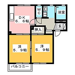 エトワールK C[2階]の間取り