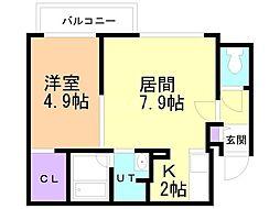 札幌市営南北線 真駒内駅 徒歩14分の賃貸マンション 4階1LDKの間取り