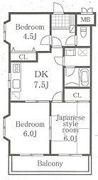 神奈川県相模原市中央区東淵野辺2丁目の賃貸マンションの間取り