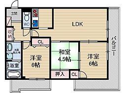 ローズコテージ壱番館[2階]の間取り