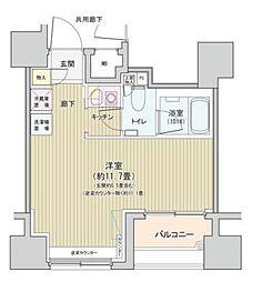 都営大江戸線 汐留駅 徒歩7分の賃貸マンション 9階1Kの間取り