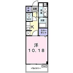 南海高野線 金剛駅 徒歩10分の賃貸マンション 1階1Kの間取り