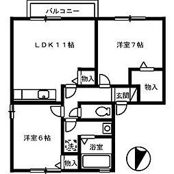 レジデンス矢三 B棟[2階]の間取り
