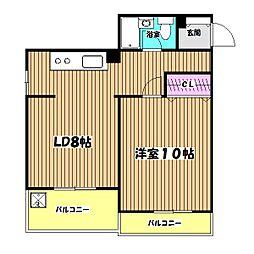 野崎コーポラス[4階]の間取り