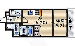 プレジオ西宮 4階1DKの間取り
