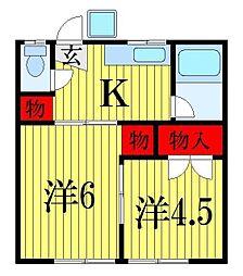千葉県船橋市宮本6丁目の賃貸アパートの間取り