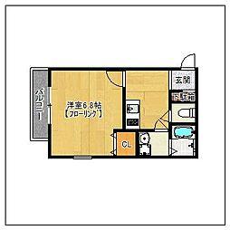 プレスト福大前C棟[203号室]の間取り