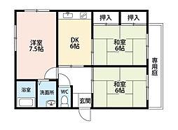 福岡県北九州市小倉南区春ケ丘の賃貸アパートの間取り