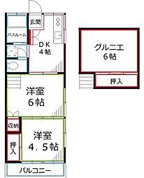 東京都国分寺市泉町3丁目の賃貸マンションの間取り