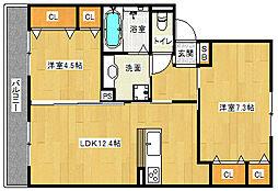 京都府京都市伏見区羽束師志水町の賃貸アパートの間取り