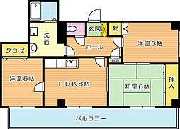 プレアール割子川[5階]の間取り