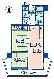 ホーユウパレス姫路広畑[102号室]の間取り