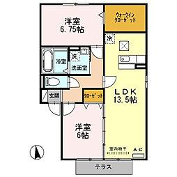 ロイヤルタウン E棟[1階]の間取り